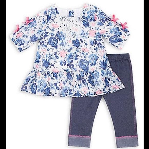 Little Lass Chiffon Floral Top & Denim Jeggings